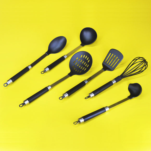 6pcs Nylon Non-Stick Kitchen Cooking Spatulas & Spoon Set