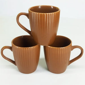 Pack Of 6pcs Daily Use Medium Size Ceramic Cups Set ( Brown Lines )