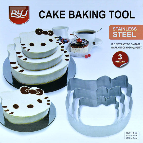 Kitty Meow Stainless Steel Cake Baking Cutter Shaping 3pcs Tool Set