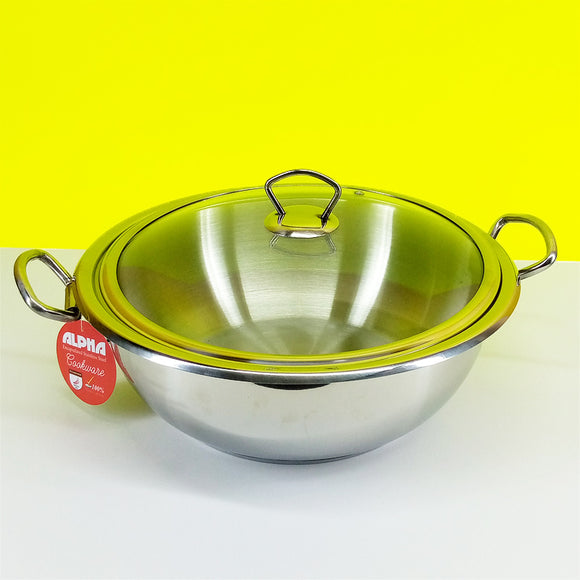 Alpha Stainless Steel Heavy Duty 28cm Karahi With Glass Lid