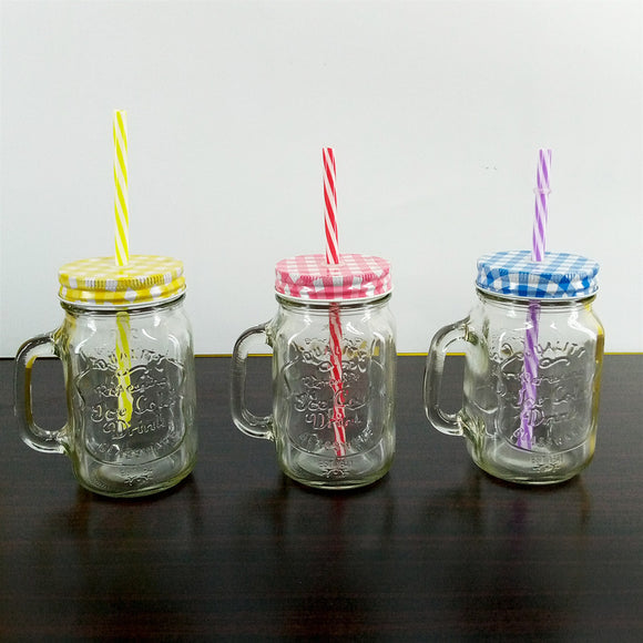 Glass 400ml Mason Jar With Straw Cold-Drink & Juice Jar ( Random Colors & Designs)