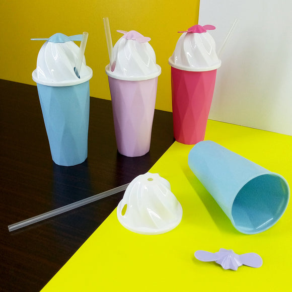 Kids' Cone Shape 300ml Juice & Drinking Plastic Glass With Cover & Straw