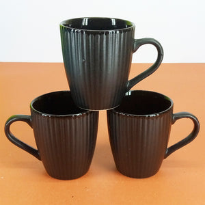 Pack Of 6pcs Daily Use Medium Size Ceramic Cups Set ( Black Lines )