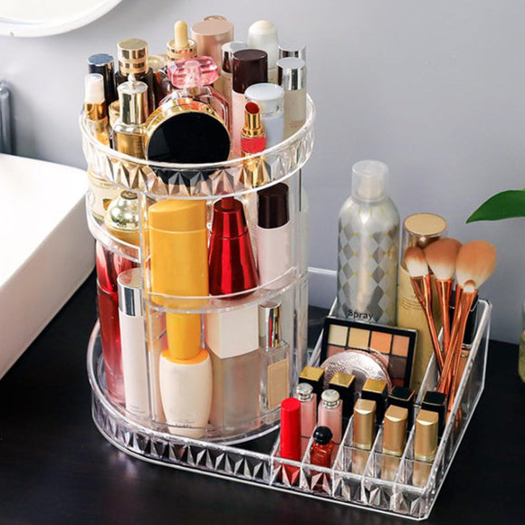 360' Degree Rotating  Acrylic Round Cosmetics Organizer With Table Top Lip Stick Holder Large Size