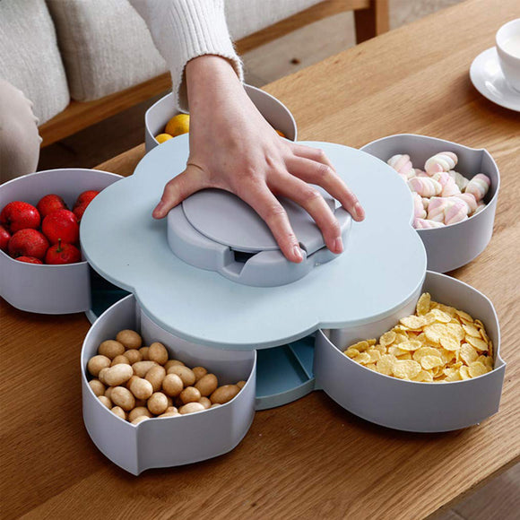 Rotating Flower Shape Dry Fruit Storage & Serving Box ( Random Colors)