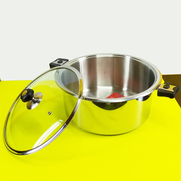 Alpha Stainless Steel Heavy Duty 22cm Cooking Pot / Degchi With Glass Lid