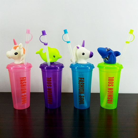 Character 400ml Juice & Drinking Plastic Glass With Cover & Straw ( Random Colors & Design )