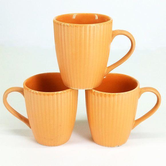 Pack Of 6pcs Daily Use Medium Size Ceramic Cups Set ( Orange Lines )