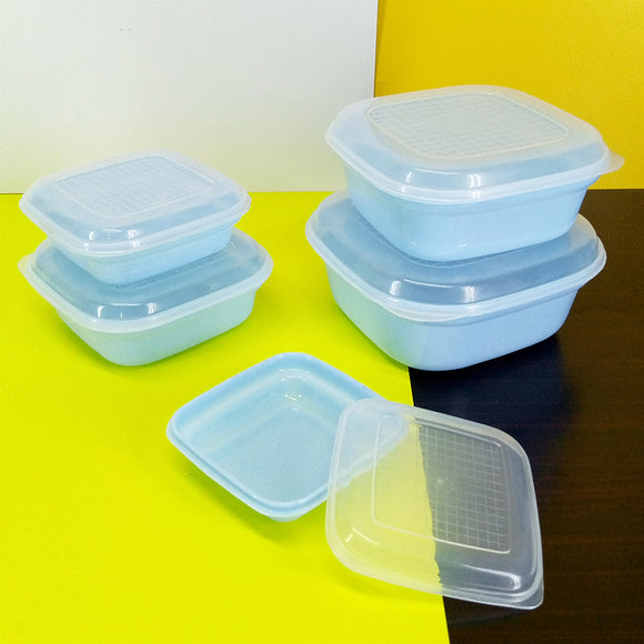 Creative Pack Of 5pcs Food Storage Plastic Container Square Shape Bowl Set