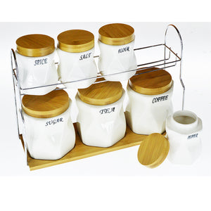7pcs Ceramic Wooden Air-Tight Spices Storage Set With Metal Stand