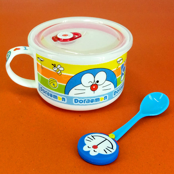 Doraemon Kids' Porcelain Ceramic Bowl With Air Tight Plastic Lid & Spoon