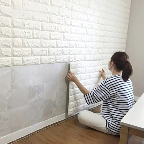 Sticky Self-Adhesive Brick Design Wallpaper Sheet White Color Premium Quality ( 2.5-feet X 2.5-Feet )