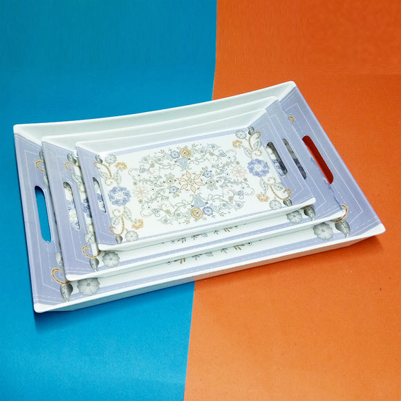 Crystal 3pcs Melamine Plastic Tray Set