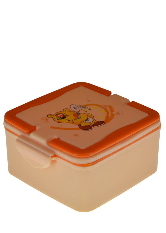 Square 2 Partitions Plastic Lunch / Tiffin Box With Carrying Handle