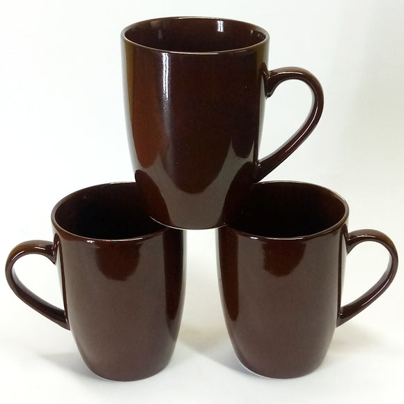 Pack Of 6pcs Large Size 270ml Ceramic Dark-Brown Mug Set