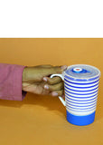 Blue Lines Ceramic Mug With Air Tight Plastic Lid