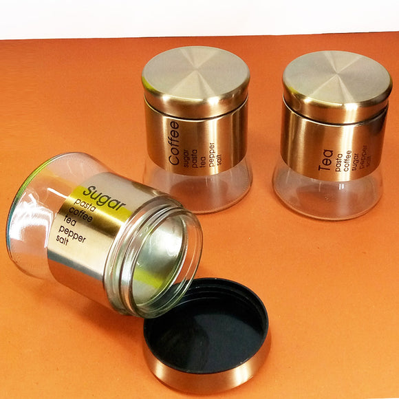 3pcs Air-Tight Glass Jar Bottle Set With Steel Covering