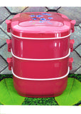 Food Warmer Three Layers 4500ml Stainless Steel Lunch / Tiffin Box ( Pink Color)