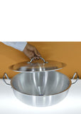 Brite 14.5 inches Silver Karahi / Cooking Pan With Steel Side Handles