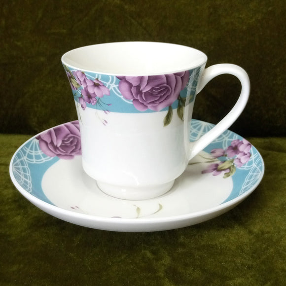 6pcs Ceramic Bone China Cup & Saucer Set