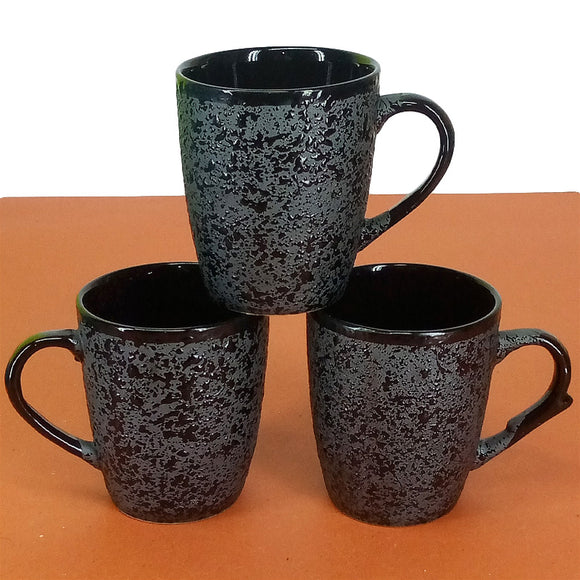 Pack Of 6pcs Medium Size Black Emboss Design Daily Use Ceramic Cups
