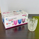 Pack Of 6pcs Crownplas Diamond Acrylic Plastic Regular Use 300ml Glass Set
