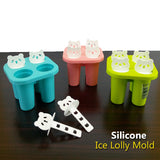 Silicone Rubber Flexible Panda Shape Ice Cream Lolly Mold ( Random Colors )