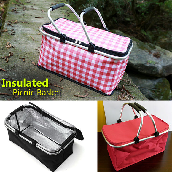 Picnic Carry Fully Insulated Medium Sized Zipper Basket