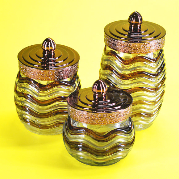 3pcs Antique Glass Storage Jar Set With Plastic Cover