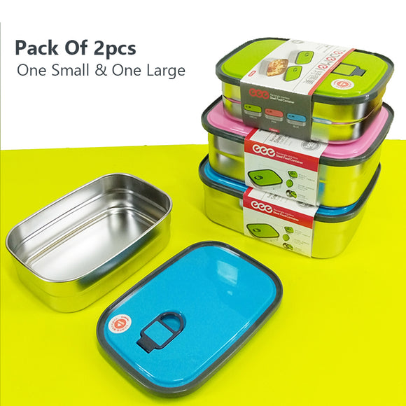 Pack Of 2pcs One Small & One Large Air-Tight Stainless Steel Food Container