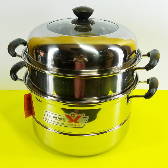 Stainless Steel 2-Tier 30cm Steamer Cooking Pot With Glass