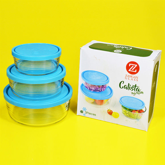 Calista 3pcs Air-Tight Glass Food Storage Bowl Set