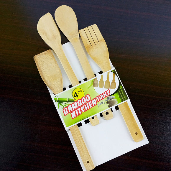 Pack Of 4pcs Small Bamboo Wooden Cooking Spatula Set