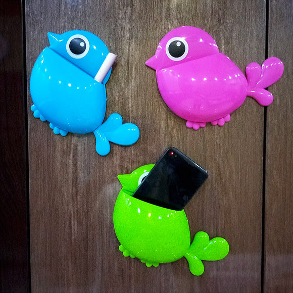 Sticky Bird Shape Multi-Purpose Mobile, Stationary, Kitchen Holder Organizer ( Mix Colors)