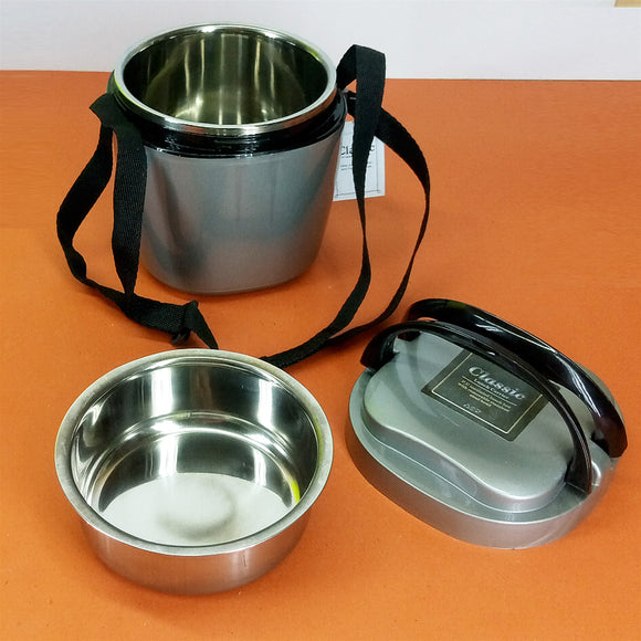 Classic 2-Layered Stainless Steel Carry Lunch / Tiffin Box ( Random Colors )