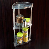 3-Layer Multi-Purpose Medium Size Corner Transparent Plastic Storage Rack