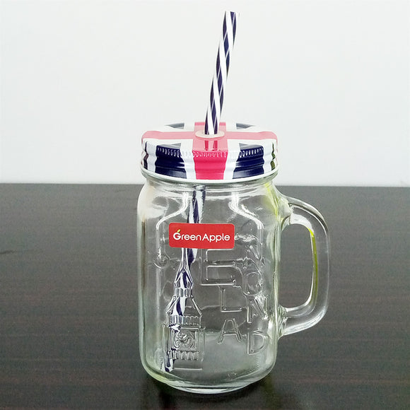Glass 490ml Mason Jar With Straw Cold-Drink & Juice Jar