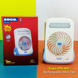 Sogo JPN-402 Portable Rechargeable Table Mini Fan With LED Light & Torch
