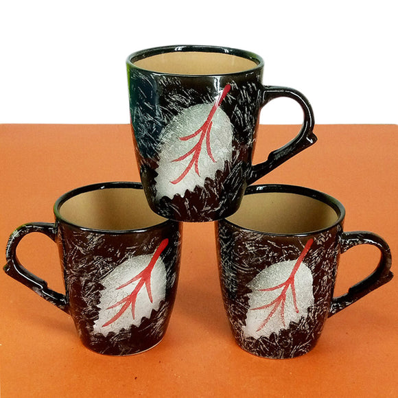 Pack Of 6pcs Medium Size Shiny Leaf-Printed Daily Use Ceramic Cups