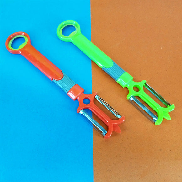 Stainless Steel 2-Sided Vegetables Skin Peeler With Bottle Opener (Random Color)