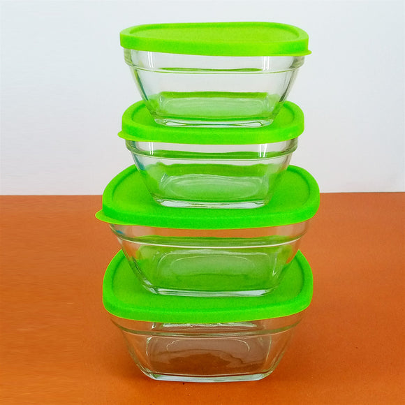 Pack Of 4Pcs Small & Medium Size Glass Bowl Set With Plastic Lid