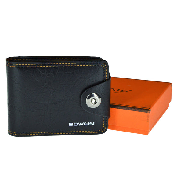Boweshi Fashion Front Button Leather Wallet For Men