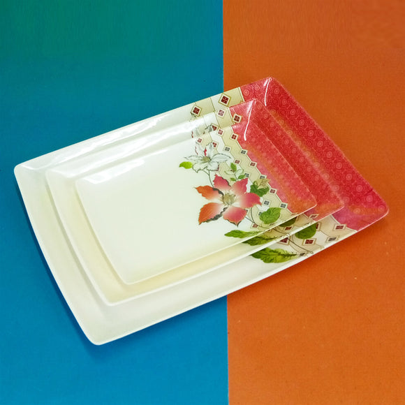 3pcs Melamine Plastic Tray Set