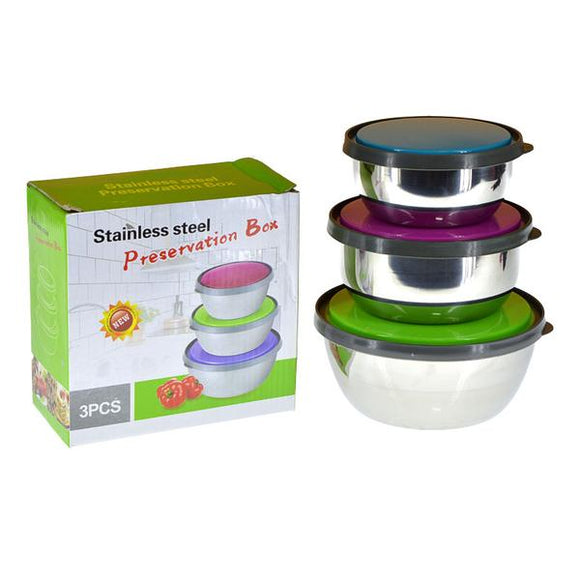 Round 3pcs Air-Tight Stainless Steel Food Storage Bowl Set