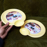 Pack Of 2pcs Kids' Round Medium-Size Snack Plastic Plates