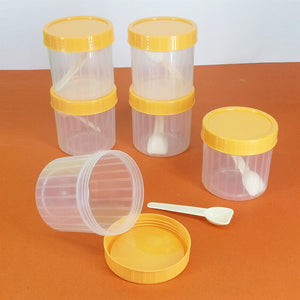 Pack Of 6pcs Small Plastic Jars With Spoons ( Random Colors )