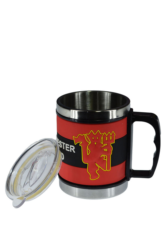 Manchester United Stainless Steel Mug With Transparent Cover