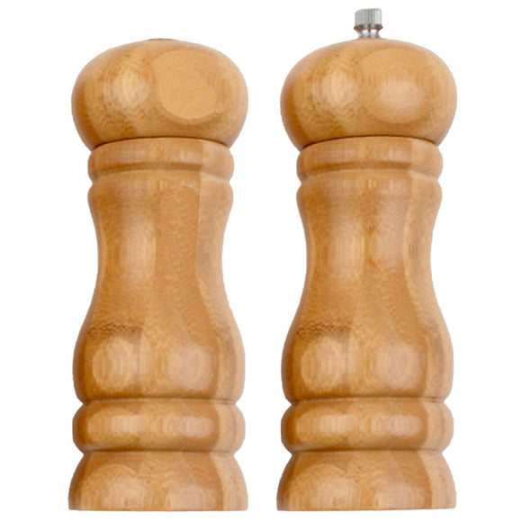 Pack Of 2 Bamboo Wooden Pepper & Salt Grinder & Shaker
