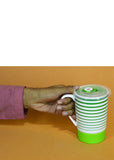 Green Lines Ceramic Mug With Air Tight Plastic Lid