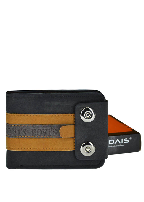 Bovi's Dual Button Leather Wallet For Men